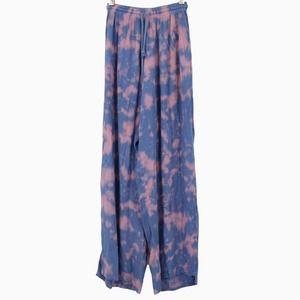 Tiare Hawaii Heat Wave Cloudy Tie Dye Indigo Pants Blue Pink Side Slits Size S/M